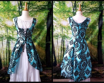 M Celtic Dress with Hood in Cyan and Black