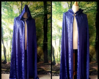 Full Cloak in Navy Blue Velvet