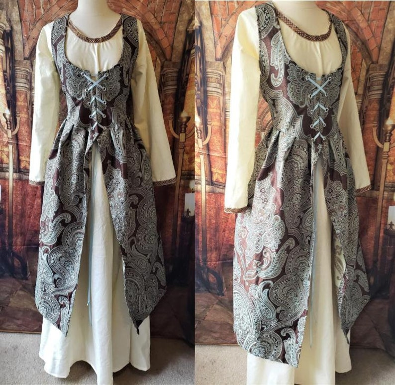 3XL Irish Dress in Light Blue and Brown Damask image 0