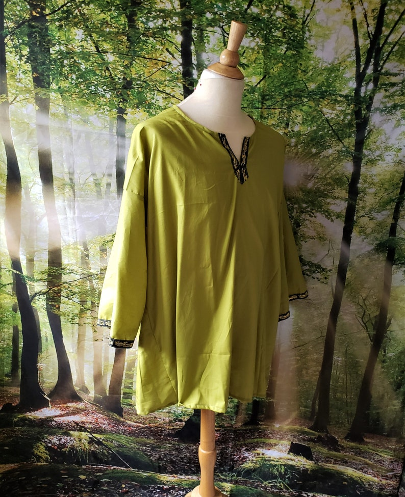 5XL Classic Tunic in Olive Green Cotton with Black and Gold image 0