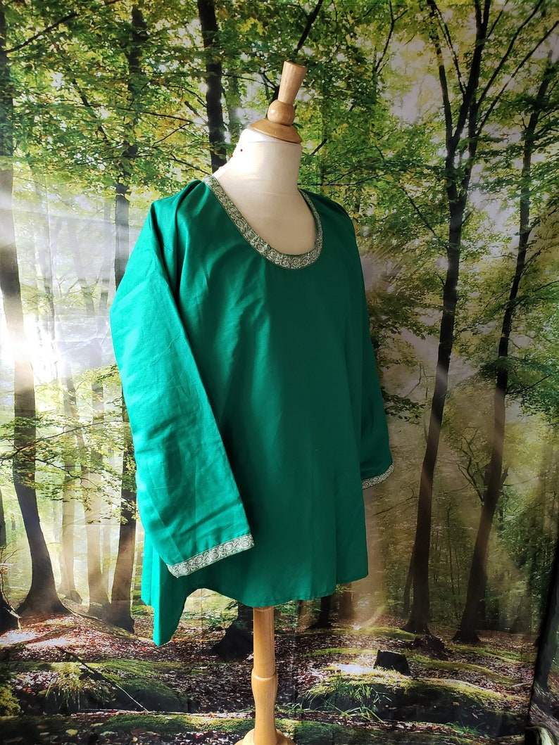 5XL Viking Under Tunic in Green Linen with Light Green and image 0