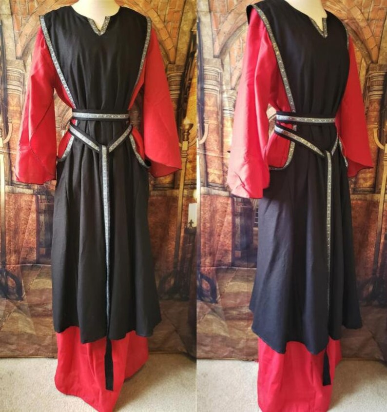 Black Linen Sideless Surcoat with Silver Trim image 0