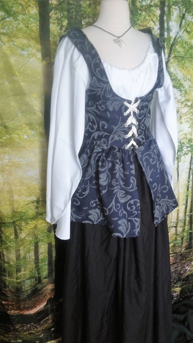L Wench Bodice with Peplum in Blue Damask image 0