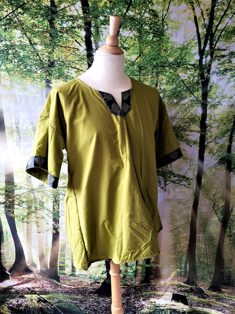 XL Classic Tunic in Olive Green Cotton with Tree Trim image 0