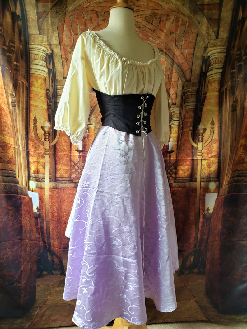 Swish Skirt in Lavender Swirl Satin image 0
