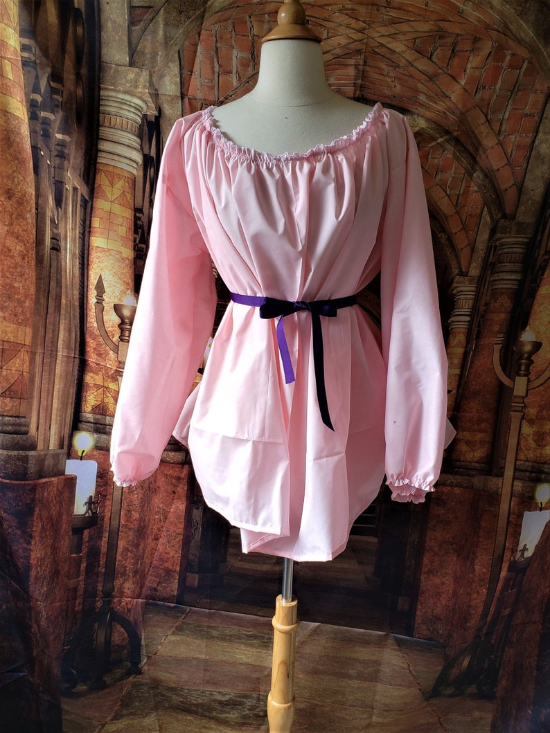 Long Sleeve Chemise Blouse in Pink Cotton image 0