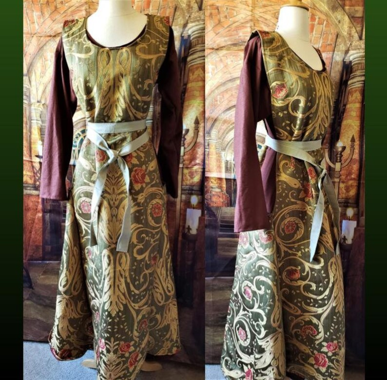 Olive Green Gold and Rose Floral Sideless Surcoat image 0