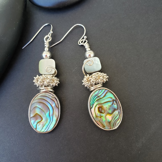 Silver Wire wrapped earrings with off- abalone shell- handmade earthy rustic jewelry #7