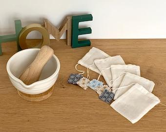 batch of washable tea bag in organic cotton, reusable tea filter, reusable wedding gift
