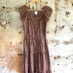 1970s Prairie Tiered Brown Floral Cotton Buttondown Midi Dress Small Medium