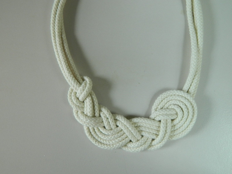 Cotton necklace fiber necklace Asymmetrical knot necklace rope necklace Anniversary gift Nautical Necklace bib necklace natural necklace