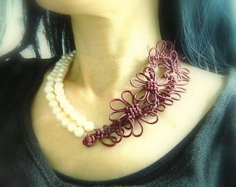 Chunky Pearl Strand Necklace Contemporary Necklace Asymmetrical Necklace Bib Necklace Modern Necklace Japanese Silk Necklace Knot Necklace