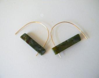 Moss Agate Earrings Geometric Earrings Crystal Earrings Statement Earrings Contemporary Earrings Avant Garde Earrings Unique gift for her