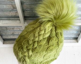 Hat - Toboggan - Cabled Hat - Pom - Knit Hat - Winter Hat - Knit Hat Pom - Fur Pom - Faux Fur Pom - Winter - Slouchie - Fur - Green Hat