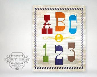 "8x10 ""ABC & 123"" Bright, Colorful Playroom or Nursery Typography Art Poster Print"
