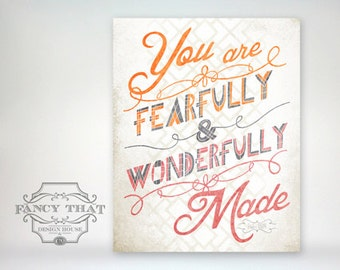8x10 art print - Fearfully & Wonderfully Made - Orange - Pink Wall decor christian Nursery/Playroom Poster  - Psalm Scripture Bible Verse