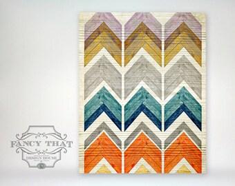 "8x10 ""Chevron Stack"" - Wooden Texture - Art Poster Print"