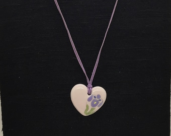 Vintage Pink Painted Ceramic Heart Pendant on Purple Cord Necklace