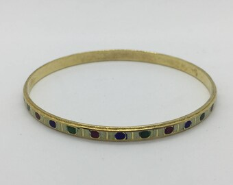 Vintage Multi-Color Enamel Thin Metal Bangle Bracelet