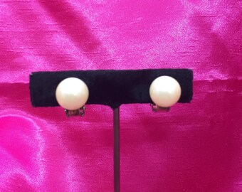 Costume Pearl Vintage Clip-On Earrings, Japan