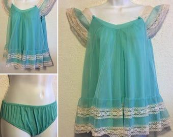 Intime' Vintage 1960s Aqua Nylon Babydoll Nightgown & Panties Set ~ Small