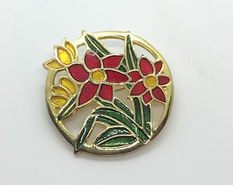 Vintage Stained-Glass Look Enamel Floral Brooch
