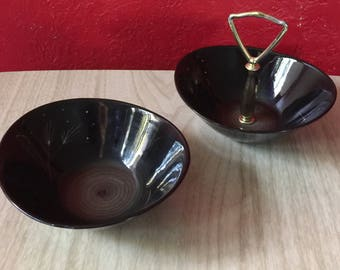 2 Matching Vintage Wavy Black Pottery Bowls with Stylized Dandelions