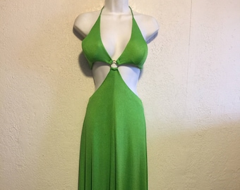 Vintage Disco Queen Lime Green Halter Maxi Dress ~ Center Ring & Open Mid Section by Funky