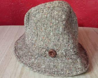 Vintage Flecked Tweed Wool Gentleman's Hat