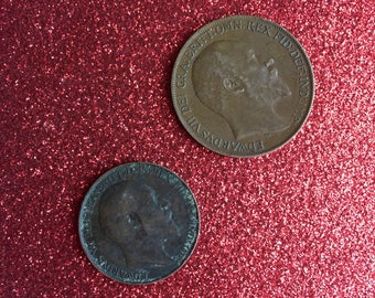 2 Vintage Bronze Coins ~ 1902 Half Penny & 1910 One Penny ~ Great Britain UK