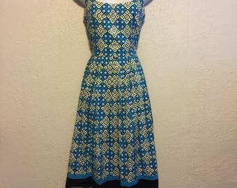 Retro 1960s Style Day Dress ~ Turquoise, Black & Green