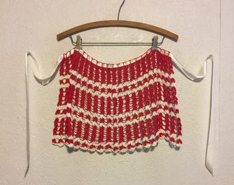 Vintage Red & White Crochet Half Apron