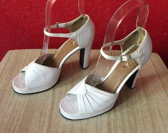 9df740de0a5 Vintage 1990s Wild Pair White Leather Peeptoe Strappy Platform Heels