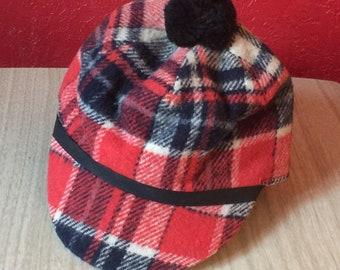 Vintage Plaid Wool Hunting Cap in Red   Black ~ 7 3 8 17a2ee88912d