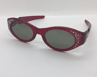 a2e7cb30033 Killer Vintage Clear Red Sunglasses with Rhinestones