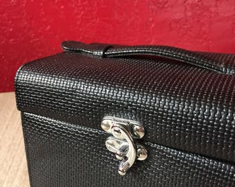 Textured Vintage 1990s Jewelry Box Travel Case, Box Purse