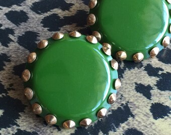 Large Vintage Green & Copper Clip-on Earrings