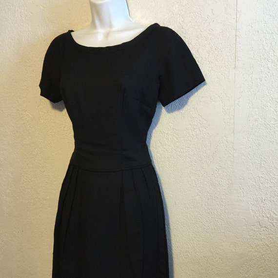 Vintage Black 1950s Dress with Apron Skirt Detail