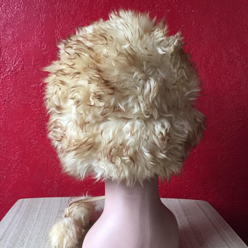 Vintage Shearling Tuscan Lamb Fur Winter Hat Pom Poms Suede Leather Back Ushanka
