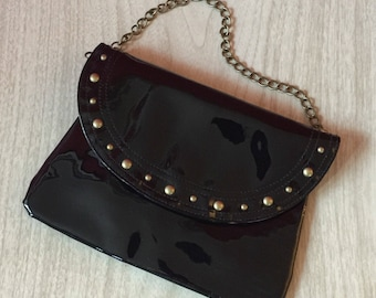 NOS Vintage 1990s Studded Black Vinyl Clutch Purse