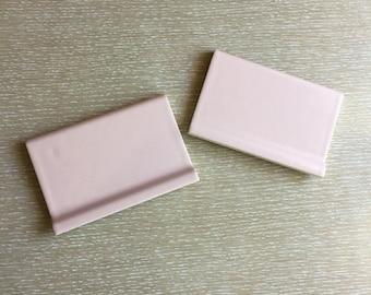 """2 Pc Vintage Pink 1950s Ceramic Tile ~ 6 1/4"""" x 4 1/8"""", Ridged"""