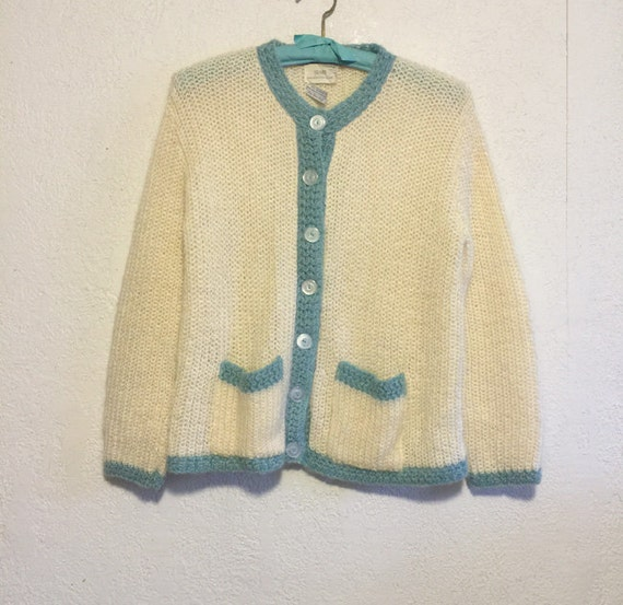 71f133e72 Sweet Vintage Mohair Cardigan Sweater Cream with Blue Trim