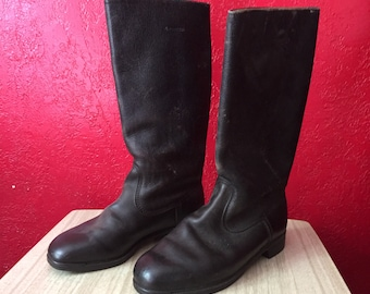 Vintage Germany Dark Leather Calf Length Jackboots