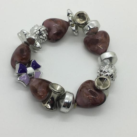 Chunky Vintage 1990s Bracelet ~ Glass Hearts & Pla