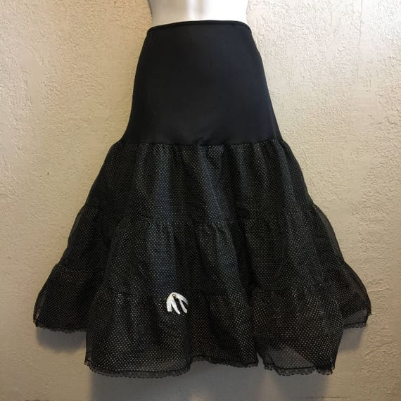 Vintage Black & White Swiss Polka Dot Crinoline Sl