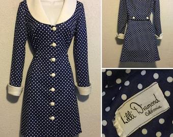 Vintage Lilli Diamond Mod Polka Dot Dress in Navy Blue & White