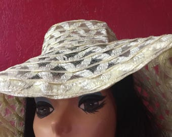 Vintage Wide Brim Floppy Woven Sheer Sun Hat