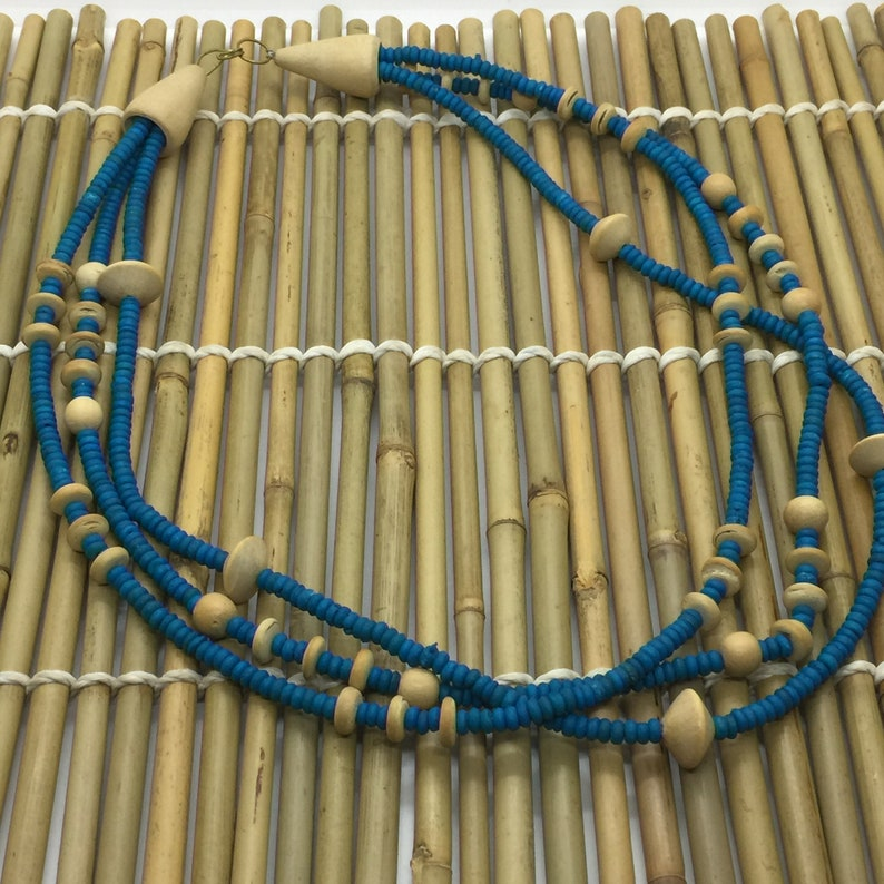 Vintage Natural /& Turquoise Wood Bead Necklace