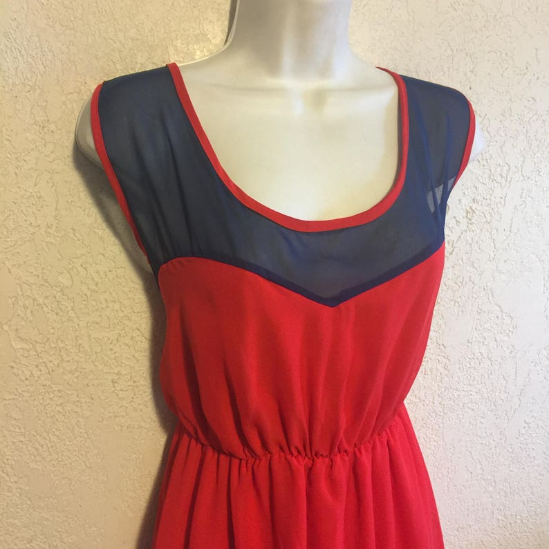 Unique Bright Red /& Sheer Navy Sweetheart Dress