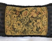 ANTIQUE TAPESTRY PILLOW vintage cushion floral tapestry antique textile cushion one-of-a-kind custom-made bolster sham